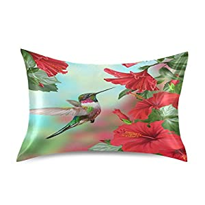 "Blueangle Red Hibiscus Flower Hummingbird Pillowcase with Envelope Closure for Hair and Skin, Soft Breathable Smooth Both Sided Silk Pillow Cover(Standard 20""×26"",1pcs)"