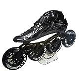 ME-Rollerns Patines en línea Patines de competición de Fibra de Carbono Patines de Patinaje de Carreras callejeras Black 4 Wheels 45