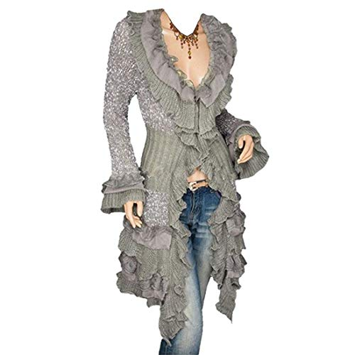 LY-VV Womens Victorian Cardigan Gothic Steampunk Slim Fit Lace Cardigan Grey