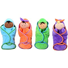 SUPER SOFT BABY DOLLS: Four culturally diverse baby dolls are made from super-soft material promote inclusion, hugging, squeezing and nurturing role play 4 PIECE SET: The four babies come together in a set with matching pocket swaddles to keep the ba...