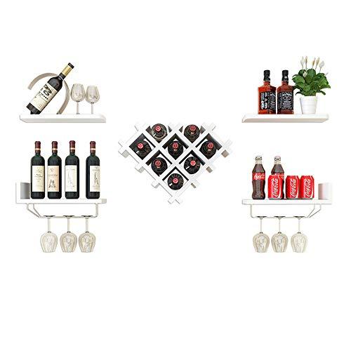 QWERTYUIOP Estante para Vino en Forma de corazón montado en la Pared Estante del Vino del hogar Estante del Vino del Diamante Doble Blanco 50.9 * 40 * 36cm