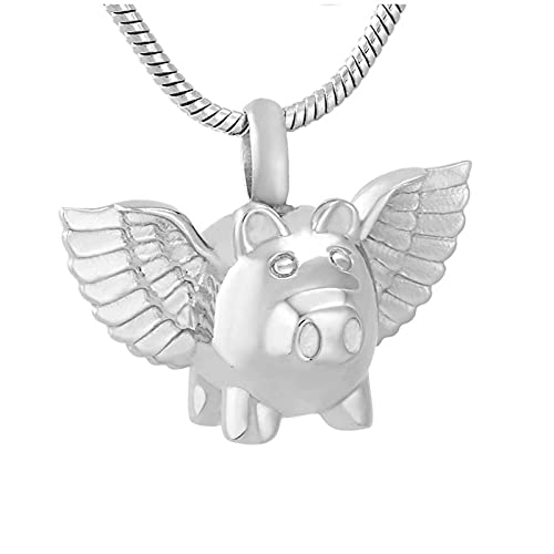 Ysain Cenizas Collar Precioso Cerdo Volador con Soporte para Cenizas De ala, Collar con Colgante De Cremación, Collar De Recuerdo Conmemorativo para Mascotas