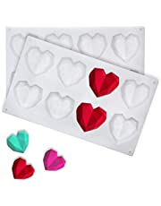 Candy Making Moulds Silicone Heart Diamond Shaped Chocolate Molds Tray for Baking Mousse,Chocolate Brownie,Cheesecake,Jelly,Ice Cream,Fondant(1 Large Diamond Heart and 1 8-Cavity Diamond Heart)
