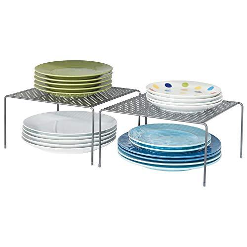 mDesign Juego de 2 estantes de Cocina - Soportes para Platos de Metal - Pequeños organizadores de armarios para Tazas, Platos, Alimentos, etc. - Plateado