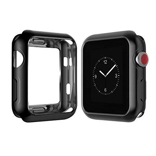 Yolin [2-Stück] All-Around TPU Displayschutz Kompatibel mit Apple Watch Series 3 42mm, Ultradünne Weiche Schutzhülle für iwatch 42mm (1 Schwarz + 1 Transparent)