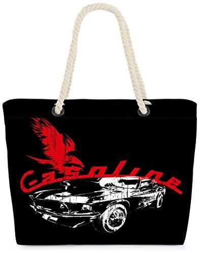 VOID XXL Strandtasche Gasoline Shopper Tasche 58x38x16cm 23L Beach Bag Muscle Car Auto, Kissen Farbe:Schwarz