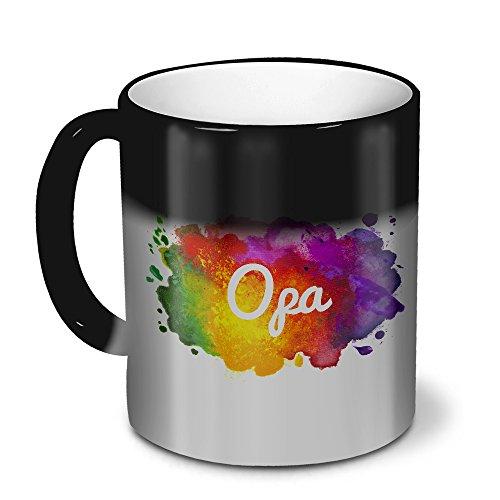 printplanet Zaubertasse mit Namen Opa - Magic Mug mit Design Color Paint - Zauberbecher, magische Kaffeetasse