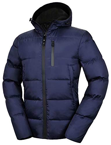 Valuker Men's Down Jacket With Hood 90% Down Coat Puffer Jacket Hooded 36-Navy-L