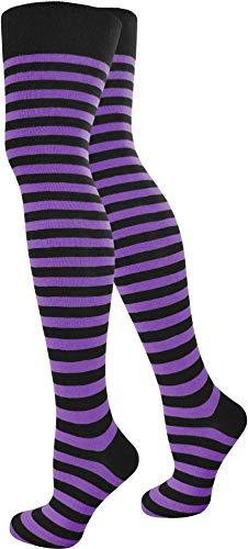 normani Top modische Damen Overknees in verschiedenen Designs/Baumwolle mit Elasthan Auswahl Farbe Schwarz/Lila/Schmal Größe OneSize