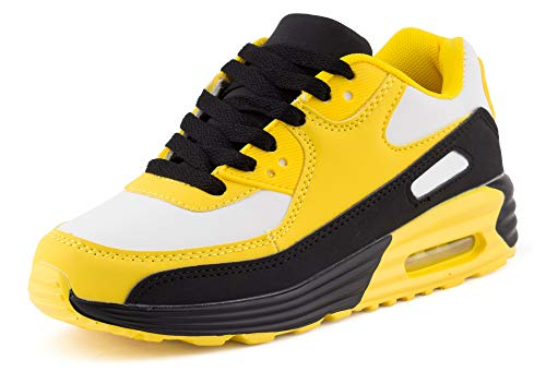Fusskleidung Unisex Damen Herren Sportschuhe Übergrößen Laufschuhe Turnschuhe Neon Sneaker Schuhe Weiß Gelb Schwarz Schwarz EU 36