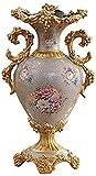 ADSE Decoración de cerámica de Suelo para Sala de Estar, Flor de Planta Dorada, Flor Falsa, Flor Seca, hidroponía, 30 * 20 * 52Cm para Flores