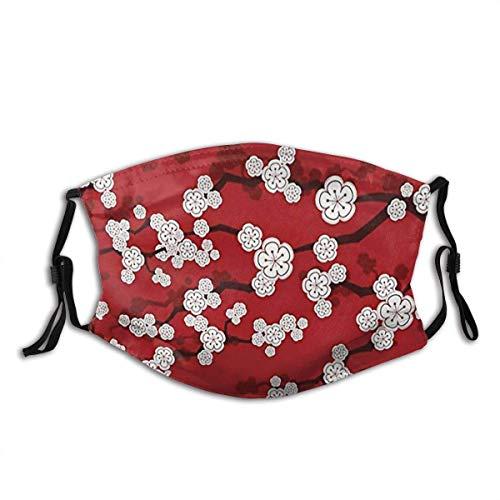 Máscara deportiva para la cara, diseño de flores de cerezo oriental, color rojo, Zen japonés, Sakura flores, almohada resistente al sol, bandana para la pesca