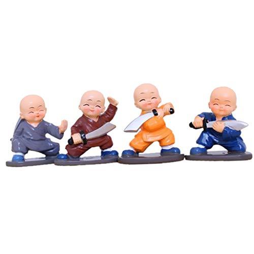 P Prettyia 4 Piezas Resina Gongfu Shaolin Monje Estatuilla Estatua de Buda Decoración del Salpicadero del Coche