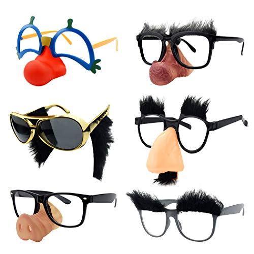 Funny Disguise Glasses, Marrywindix 6 Pairs Novelty Clown Eyeglasses with Soft Nose Funny Eyebrows and Mustache for Halloween Costume Party Favors