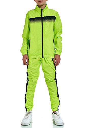XRebel Kinder Junge Jogginganzug Sportanzug Modell W30 (Neon Grün, 122-128(10))