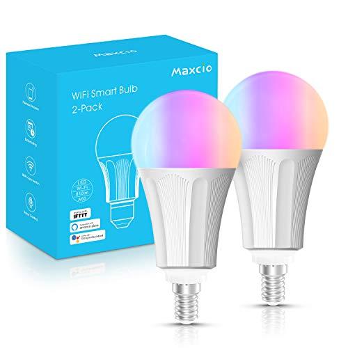 Lampadina LED Inteligente WiFi E14,Maxcio Lampadine Smart LED 9W=60W,Dimmerabile RGB Colore Cambiano Lampadina 2700-6500K Bianco Freddo Caldo,Funzione con Alexa/Google Home,Nessun Hub Richiesto 2Pcs
