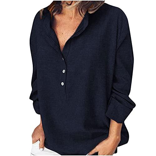 Top de blusa elegante curvada para mujer, de manga larga, de color liso, casual, de manga larga, con botones,...