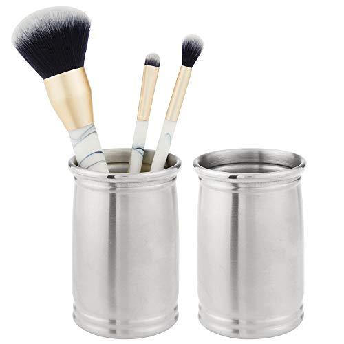 mDesign 2er-Set Zahnputzbecher aus gebürstetem Edelstahl – Zahnbürstenhalter für Badzubehör – Becher für Rasierer oder zur Kosmetikaufbewahrung – mattsilberfarben