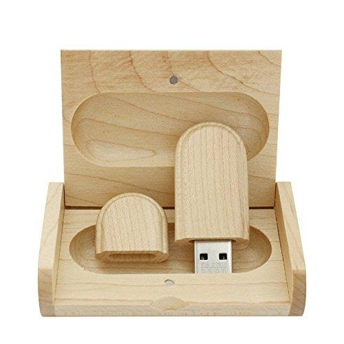 Yaxiny, chiavetta USB 2.0, in legno di acero, con scatola di legno
