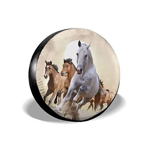 Xhayo Wild Running Horse - Cubierta universal de repuesto para neumáticos, impermeable, a prueba de polvo, para remolques, RV, SUV y muchos vehículos (negro, diámetro 14-17 pulgadas)