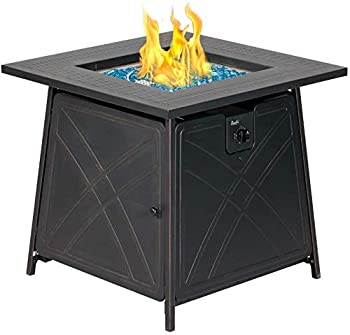 BALI OUTDOORS Gas Fire Pit Table 28 inch 50,000 BTU Square Outdoor Propane Fire Pit Table with Lid and Blue Fire Glass