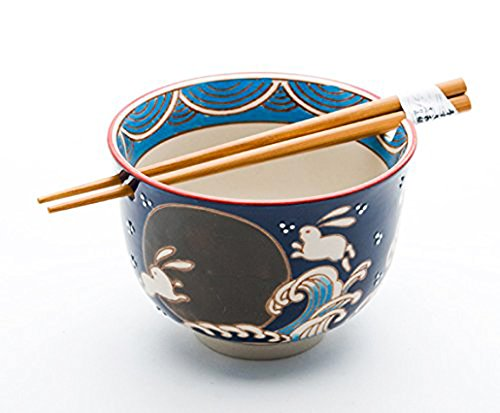 Happy Sales HSRB-RBMN, Japanese Ramen Udon Noodle Bowl with Chopsticks Gift Set, Rabbit