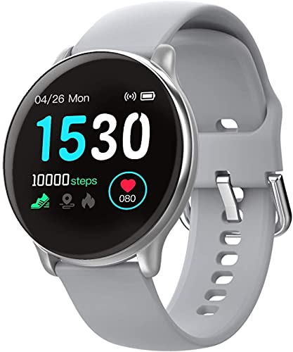 Relógio Inteligente, com Monitor Cardíaco, Sono, Pressão e Sangue, para iOS e Android - Cinza