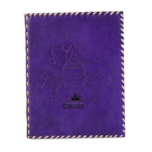 Leather Journal Notebook A5 Embossed Samyaksam Buddha Handmade Travel Diary with Unlined Paper for Writing and Sketching Gift for Men and Women - Purple