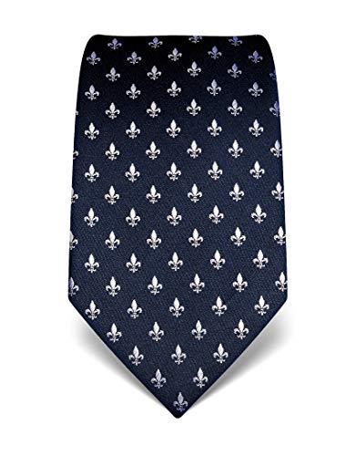 Vincenzo Boretti Herren Krawatte reine Seide Fleur-de-Lis Muster edel Männer-Design zum Hemd mit Anzug für Business Hochzeit 8 cm schmal/breit dunkelblau