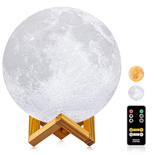 Moon Lamp with Stand, LOGROTATE 2 Colors Moon Light with Remote & Touch Control & USB Recharge, Timing, Moon Light Lamps for Kids Lover Birthday Gift, Large Moon Lamp for Home Decoration (9.45 inch)