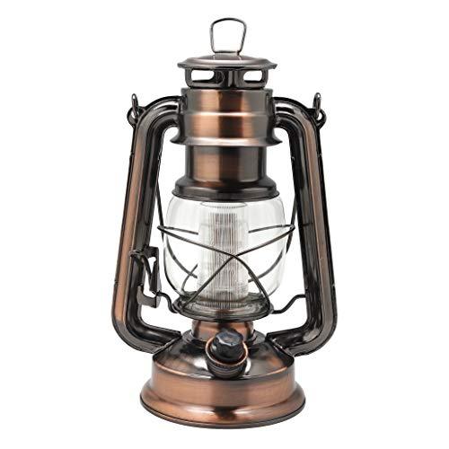 YAKii Lámpara de aceite de metal de estilo vintage de 12 LED, linterna de huracán (cobre antiguo)