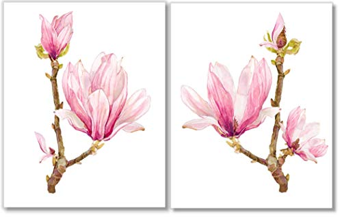 Pink Magnolia Art - Botanical Prints Wall Art - Watercolor - Set of 2-11x14 - Unframed