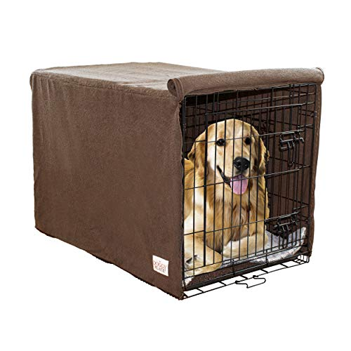 My Doggy Place Ultra Absorbent Microfiber Chenille Medium Dog Crate Cover for Pets, Premium, Durable, Washable Kennel Protector Privacy Shield (42 x 30 x 28, Brown) Covers Kennel