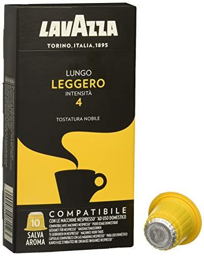 Lavazza Cápsulas de Café Compatibles con Nespresso, Lungo Leggero, 100{3ba3a96c0a60b572bad1e13f6c11efd906764d9d17cccdc7a00ac2c0523d3c6b} Arábica, Paquete de 10 Cápsulas