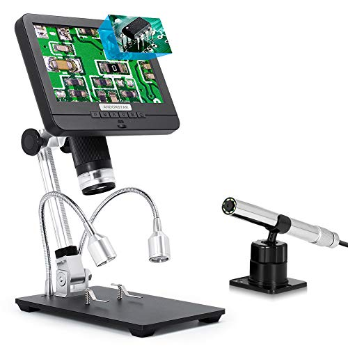 Andonstar AD206S 7' LCD Digital Microscope with 80X Endoscope, Picture in Picture, Coin USB Video Microscope Camera Recorder, Microscopio for Adults Kids, Coin Inspection PCB Soldering Watch Repair