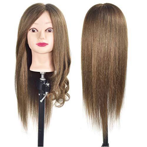 50,8- 55,9cm formazione testa 100% capelli umani veri Cosmetologia parrucchiere testa di manichino per bambola (staffa per fissaggio inclusi)