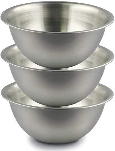 MenaxLot de 3 bols de cuisine en acier inoxydable 21 cm