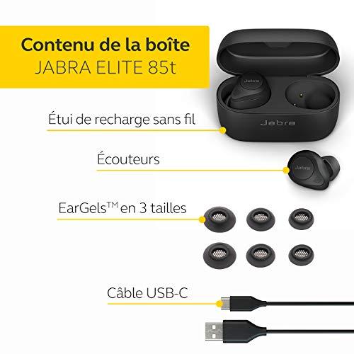 Jabra Elite 85t True Wireless – Écouteurs Sans Fil à Réduction de Bruit Active, Longue Autonomie et Écouteurs Puissants…