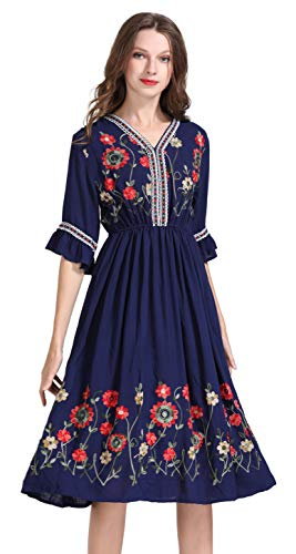 Women's Short Sleeve Mexican Embroidered Floral Pleated Midi A-line Cocktail Dress (L) Blue