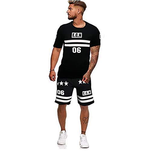 MEIbax Conjunto de Pantalones Cortos de Manga Corta de los Hombres T Shirt+Pantalones,Camisetas de Simple Impresión Cuello Redondo Suelto Verano Blusa Transpirables Cómodo Camisa Tops Deportiva