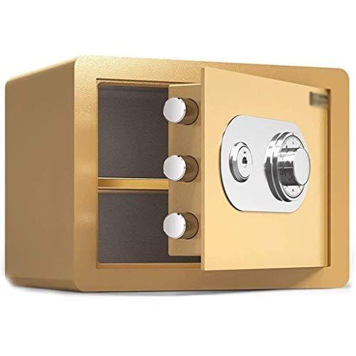 LIFEIYAN Caja fuerte, contraseña mecánico Caja de almacenamiento con clave Mini invisible contraseña segura Oficina completamente de acero Antirrobo hogar seguro (color: oro) seguro segura casa inteli