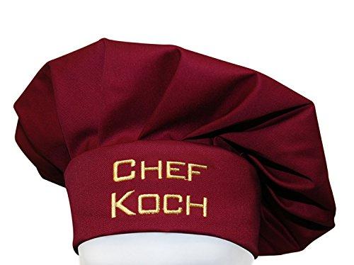 KringsFashion + CG Workwear Kochmütze, Chefkoch, Farbe Bordeaux, hochwertig Bestickt vom Stickerei-Fachbetrieb; Profimütze,
