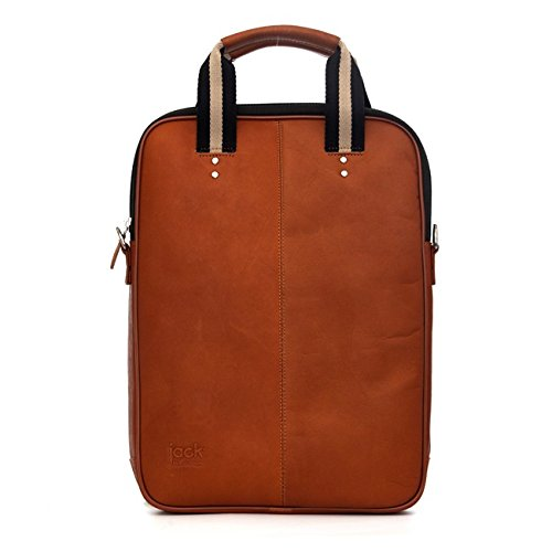 Jill-e Designs Laptop Case/Bag, Leather, Fits 15-inch Laptop, for Business/Women/Men, Tan (419484)