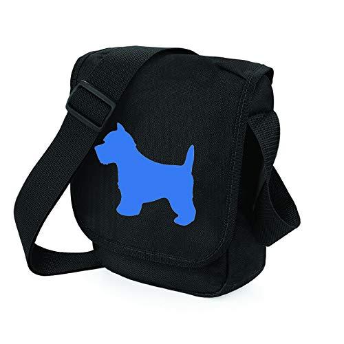 West Highland White Terrier Hundetasche Reporter Tasche Schultertasche Westie Silhouette West Highland Geschenk Farbauswahl, Schwarz - Schwarze Tasche mit Hundemotiv - Größe: Small/Medium