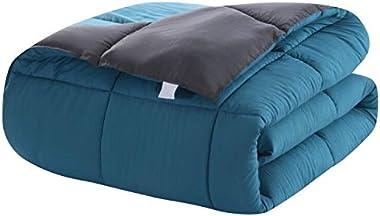 Duvet Comforter Warm and Anti Allergy All Season Quilt Duvet Bedding All Season Reversible Double Size Gray/Teal