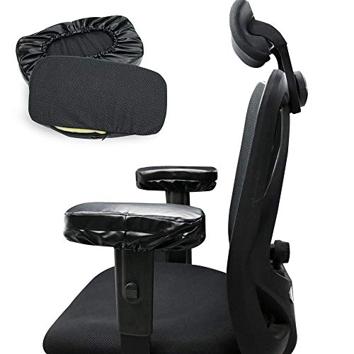 HANHAN Silla de oficina en casa Apoyabrazos Almohadillas 2 cojines de espuma viscoelástica para codo de piel sintética para juegos de silla de ruedas para alivio de presión del antebrazo