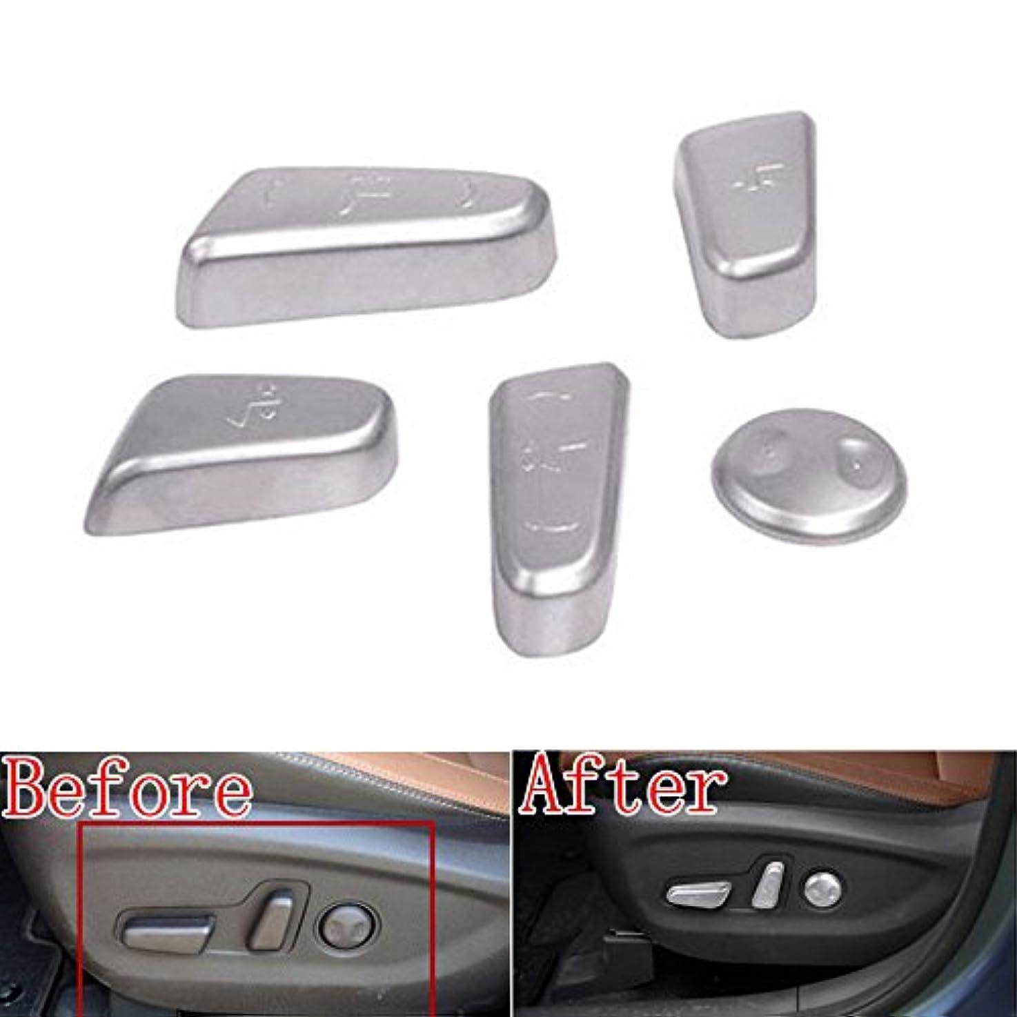 空虚変装司法Jicorzo - 5x ABS Chrome Car Door Seat Adjustment Switch Control Knob Button sticker Fit For Hyundai Tucson Car decal Accessory