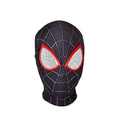 QWEASZER Peter Parker Spider-Man Mask black Miles Morales Headgear Marvel Avengers Lycra Full Face Mask Halloween Movie Cosplay Costume Props Accessories,Spiderman A-OneSize