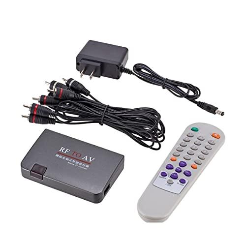 healthwen Mini Receptor de TV analógico RF a AV portátil Convertidor de RF a AV Modulador Adaptador de Corriente Puerto USB con Cable de Video Negro
