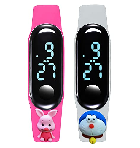 Time Up Combo of 2 Cartoon Character Waterproof LED Kids Watches for Boys & Girls-M5KIDZ-HP (Hot Pink & White)